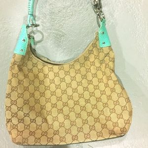 Gucci Turquoise GG monogram bag, canvas/leather